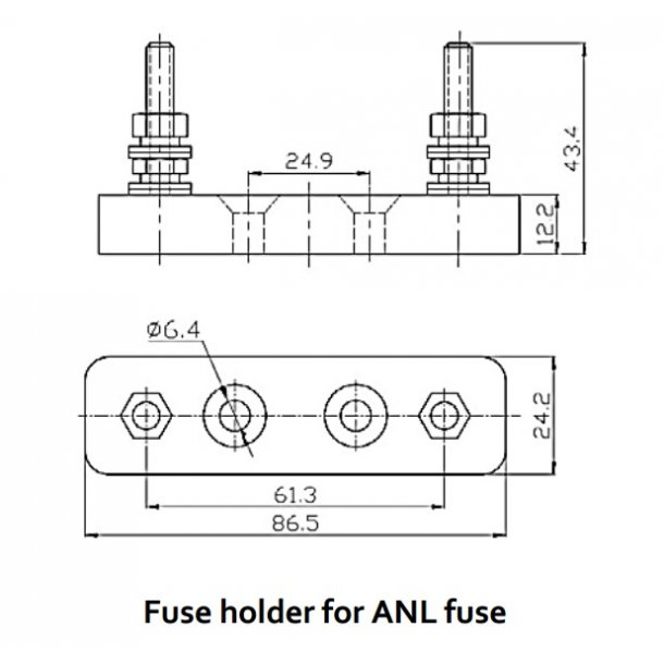 Fuse holder for ANL-fuse